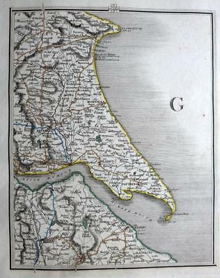 YORKSHIRE BRIDLINGTON BEVERLEY GRIMSBY  BY JOHN CARY GENUINE ANTIQUE MAP  c1822