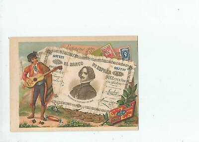 Spain  Banknote  On  Vintage  Card