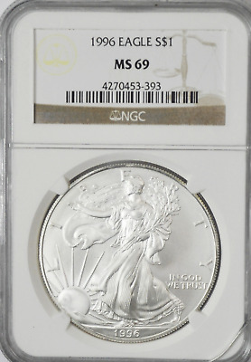 1996 $1 American Silver Eagle One Ounce Fine Dollar Coin Gem Unc NGC MS69