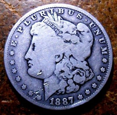 1887-O Morgan Silver Dollar Circulated Coin #1 Rim Ding And Other Dings