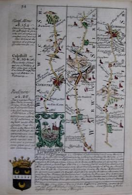 WARWICKSHIRE NORTHAMPTON COVENTRY  BY EMANUEL BOWEN GENUINE ANTIQUE c1720