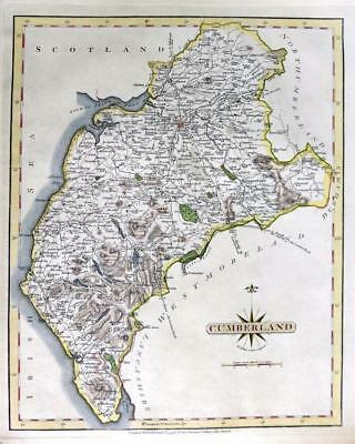 CUMBERLAND CARLISLE BY JOHN CARY GENUINE COPPER ENGRAVED ANTIQUE MAP  c1793