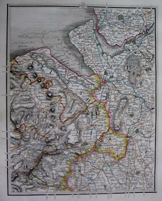 CHESHIRE LANCASHIRE LIVERPOOL CHESTER  BY JOHN CARY GENUINE ANTIQUE MAP  c1824