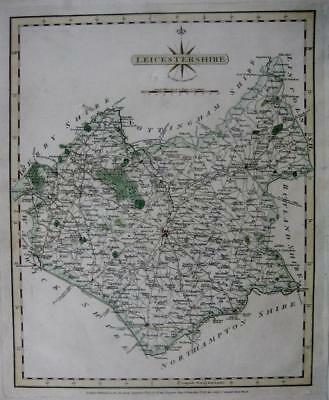 LEICESTERSHIRE LEICESTER MILTON MOWBRAY  BY JOHN CARY GENUINE ANTIQUE MAP  c1793
