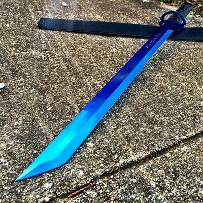 "27""Ninja Sword Machete BLUE Full Tang Tactical Blade Katana NEW Sheath 61-BL"