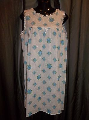 Vtg.70's Blue Floral Print Nightgown Gown Night Gown Women's Size MEDIUM