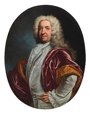 Antique 18th Century Italian Oil painting on Canvas : Portrait of Courtier Noble