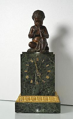 Antique 19th century French Figural Bronze & Marble Clock : Putto with Pipes