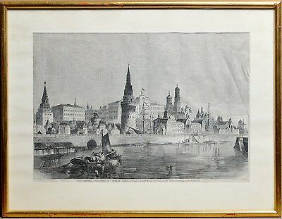 Antique 19th century Engraving or litho on Paper : Moscow - Kremlin