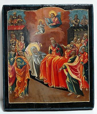 Antique 18C Russian Orthodox Tempera Painted Icon : Our Lady by Many Saints
