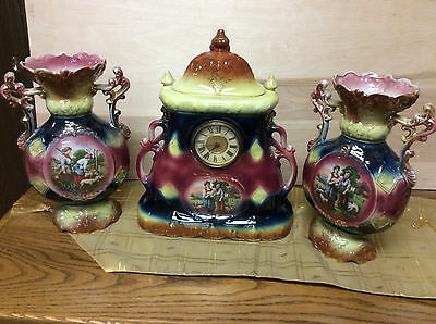 Hamburg Amerika Ceramic Mantel Clock with Matching Vases