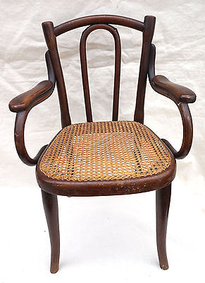 Art Nouveau Child Arm Chair Model 18 Thonet Bentwood Cane Seat Factory Labels