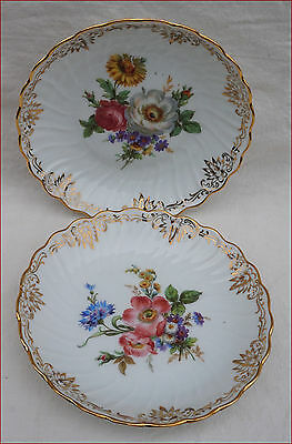 French Limoges Transferware Gilt Porcelain Pair Scalloped Plates Flowers Raynaud