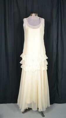 dress flapper drop waist long white chiffon lace evening wedding antique 1920 vg