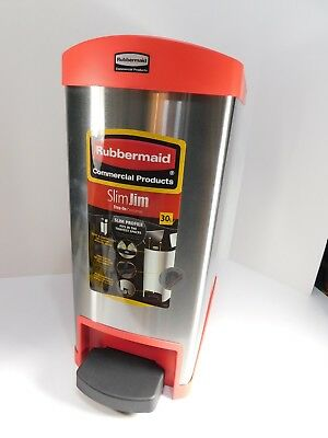 RUBBERMAID COMMERCIAL PRODUCTS Step On Trash Can 8 Gallon Red Stainless Steel