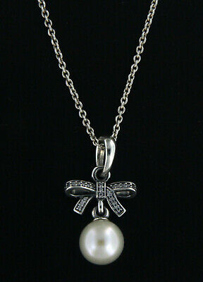"""Pandora Silver Pearl Necklace .925 Sterling Silver 20-28"""" Inch"""