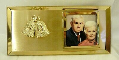 Vintage 50th Anniversary Picture Frame Music Box, Goldtone Metal