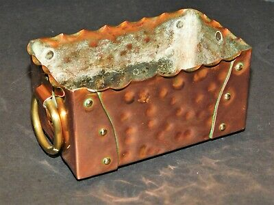 Small Arts & Crafts Hammered & Riveted Copper Trough With Brass Ring Handles