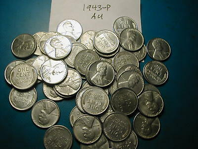 Quality AU condition 1943-P LINCOLN STEEL WHEAT CENT PENNY ROLL 50 COINS
