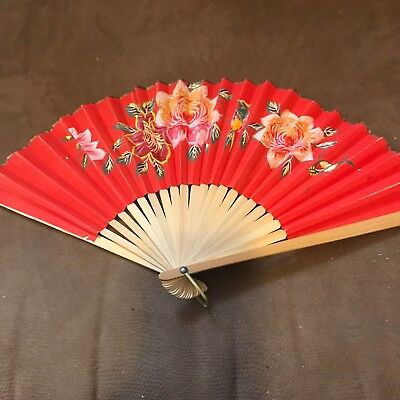 Wood & paper folding fan, hand painted flower antique/vintage 8.5 inches