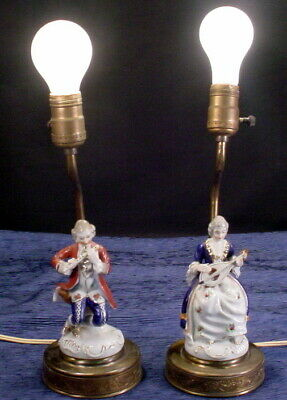 Vintage Pair Of Brass & Porcelain Victorian Figure Electric Lamps