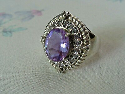 925 Sterling Silver Synthetic Purple Color Change Alexandrite COCKTAIL Ring 6.75