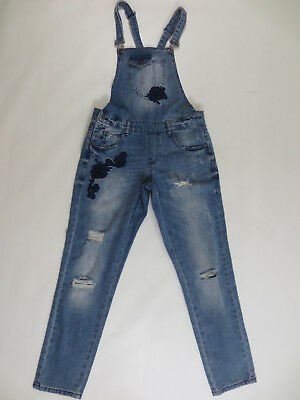 Jeans Overalls only Dungarees with Flowers 34 36 Ca 28 Deim Blue Destroy/J92