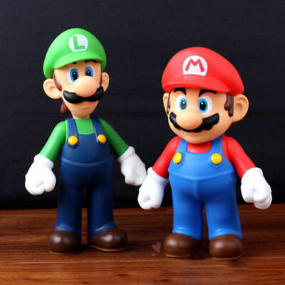 Super Mario Brothers Luigi Mario 5in Action Figure Doll Kids Toys Gifts 2 PCS