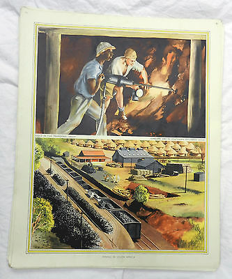 Original Vintage Schools Poster - Mining in South Africa c 1920s / 1930s