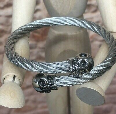 Twisted Stainless Steel Cable Skull Head  Bangle Bracelet