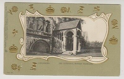 Kent postcard - Canterbury, The Cathedral, Normal Staircase - Embossed (A115)