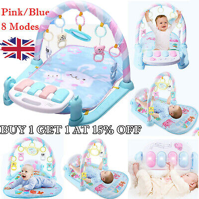 Baby Gym Play Mat Lay & Play 3 in 1 Music And Lights Fun Blue Piano Rattle