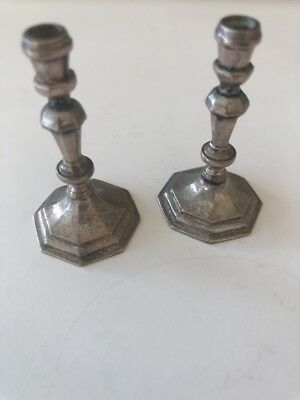 Miniature Sterling Silver Candlestick Pair Dollhouse Hand Made Hallmarked