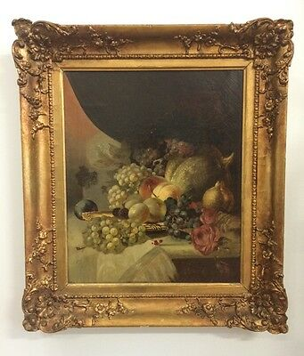 George Lance (British, 1802-1864) Oil Painting Still Life with Fruit Signed
