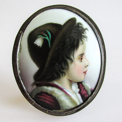 Antique Continental Hand Painted Porcelain Portrait Plaque of a Tyrolean Boy