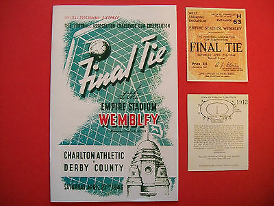 1946 F A Cup final programme & Ticket Derby County v Charlton Athletic Repro.