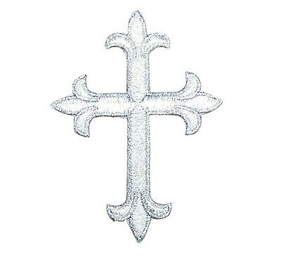 Fleur de lis Cross Religious Iron on Applique//Embroidered Patch Neon Yellow