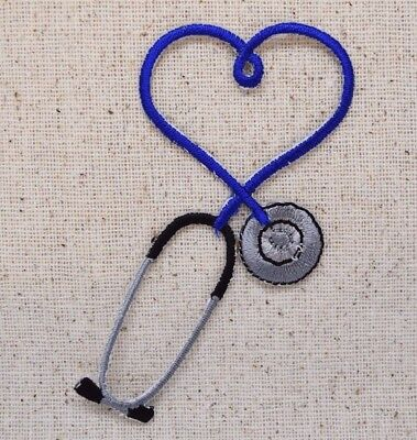 CRAFT PROJECTS IRON ON PATCH//APPLIQUE Embroidered Fuchsia Stethoscope