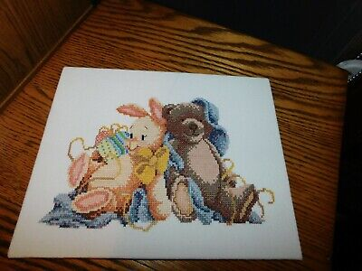 Bunny and Teddy Bear Cross Stitch Panel COMPLETED Handmade