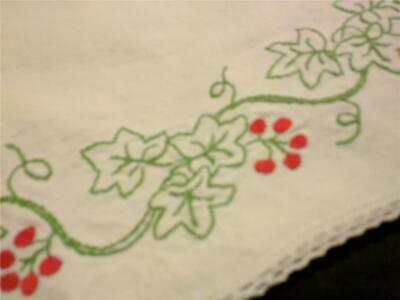 Vintage Embroidered Runner Ivy or Grape Leaves with Red Berries- Great Work!