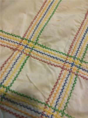 Vintage Tablecloth 47 by 65 Embroidered Stripes Fall Colors Brown orange Green
