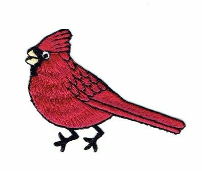 Red Male Fat Baby Cardinal//Bird Facing Right Iron on Applique//Embroidered Patch