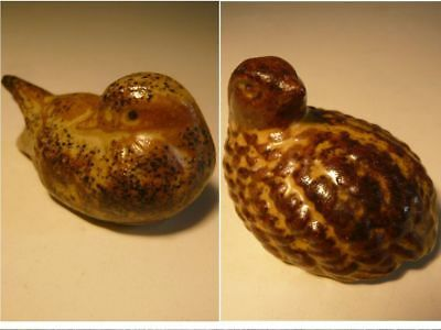 Sweet Little Hand-crafted Pottery QUAIL & DUCK figures 5cm long Collectable