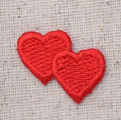 "Mini/Small - Red Double Heart 1""- Love - Iron on Applique/Embroidered Patch"