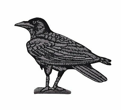 RAVEN Facing LEFT - Bird/Crow Black/Gray - Iron on Applique/Embroidered Patch