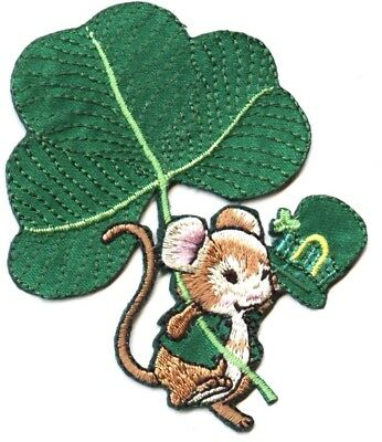 Mouse Irish Shamrock/St Patricks Day/Green - Iron on Applique/Embroidered Patch