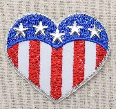 e4aec8df7c8 Iron On Embroidered Applique Patch Patriotic American Flag Heart Silver  Nailhead