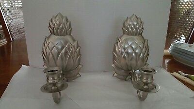VINTAGE 1980s PAIR OF HEAVY PEWTER PINEAPPLE WALL SCONCES MADE IN INDIA