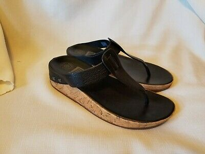 81f0eaf70 FITFLOP Ibiza Leather Cork Wedge Thong Flip Flop Sandals Womens Size 7 EU 38