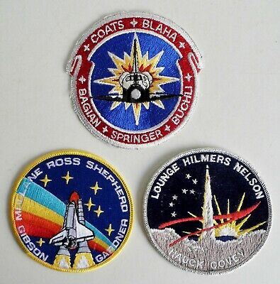 Collection Of 3 Old Nasa Space Mission Sew On Patches - Space Shuttle Missions